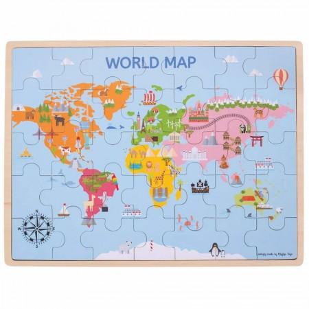 Puzzle din lemn - Harta lumii (35 piese) Bigjigs