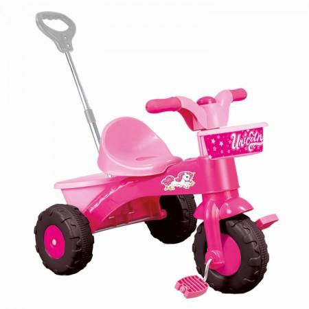 Prima mea tricicleta roz cu maner - Unicorn Dolu