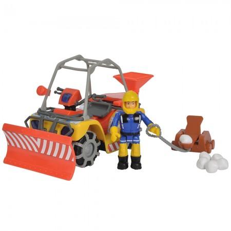 ATV Simba Fireman Sam, Sam Mercury Snow Quad cu lama de zapada, figurina Sam si accesorii*