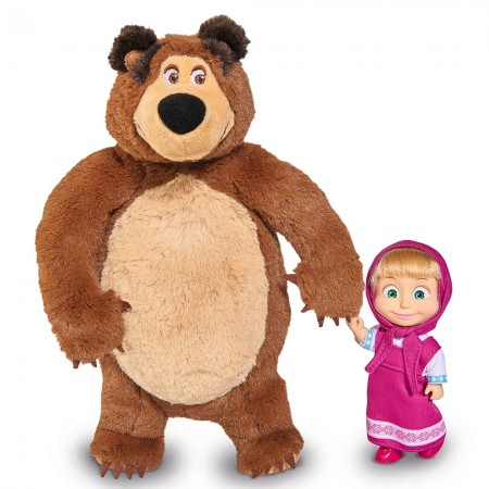 Set Simba Masha and The Bear papusa Masha 12 cm si ursulet de plus 25 cm*