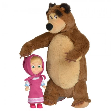 Set Simba Masha and The Bear papusa Masha 12 cm si ursulet de plus 25 cm*