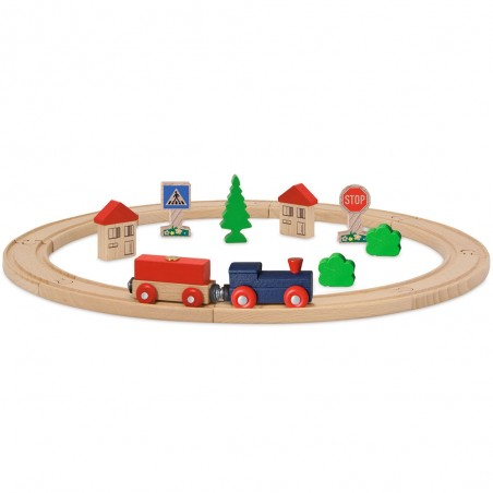 Set din lemn Eichhorn Tren albastru cu sina circulara si accesorii*