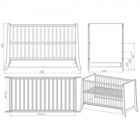 Patut copii din lemn Hubners Cosmo 120x60 cm alb cu sertar*