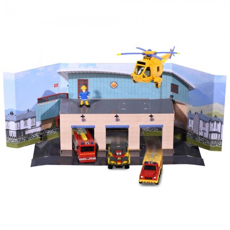 Pista de masini Dickie Toys Fireman Sam, Sam Fire Rescue Team cu 3 masinute, 1 elicopter si 1 figurina*