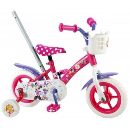 Bicicleta pentru fete 10 inch cu maner roti ajutatoare si cosulet Minnie Mouse Volare.*