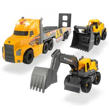 Camion Dickie Toys Mack Volvo Heavy Loader Truck cu remorca, buldozer si camion basculant*
