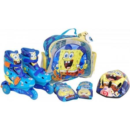 Role copii Saica reglabile 35-38 Sponge Bob cu protectii si casca in ghiozdan*
