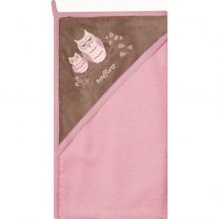 Prosop de baie cu gluga imprimeu velur 80 x 80 cm Womar Zaffiro AN-OW-01, roz/maro*