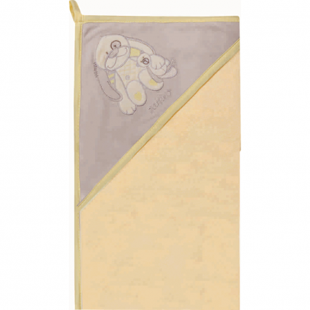 Prosop de baie cu gluga imprimeu velur 80 x 80 cm Womar Zaffiro AN-OW-01, bej/gri/galben*