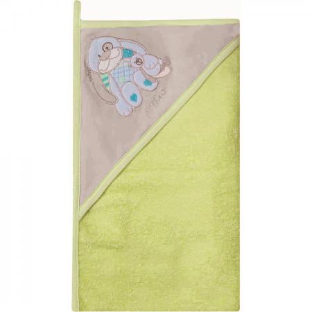 Prosop de baie cu gluga imprimeu velur 80 x 80 cm Womar Zaffiro AN-OW-01, verde/gri/albastru*