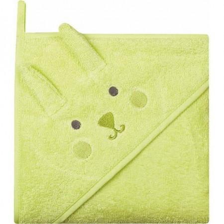 Prosop de baie cu gluga imprimeu animal 100 x 100 cm Womar Zaffiro AN-OZ-02, verde*