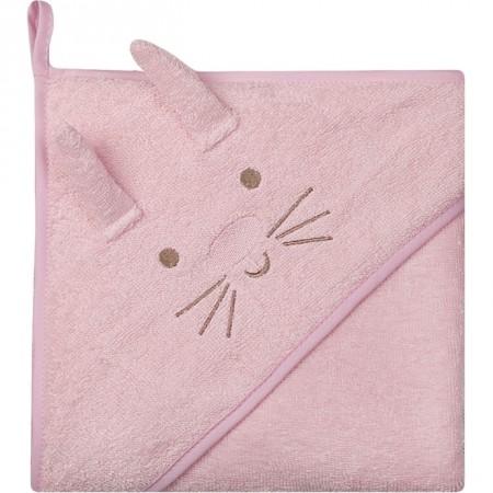 Prosop de baie cu gluga imprimeu animal 100 x 100 cm Womar Zaffiro AN-OZ-02, roz*