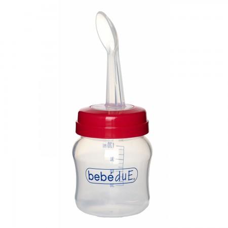 Biberon din silicon 120 ml cu lingurita BebeduE 80168, rosu*