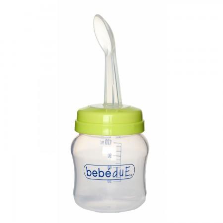Biberon din silicon 120 ml cu lingurita BebeduE 80168, verde*