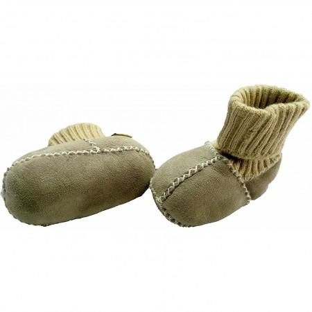 Botosei din piele si blanita de miel cu mansete tricotate - Marime 16 Altabebe MT4031L-01, gri*