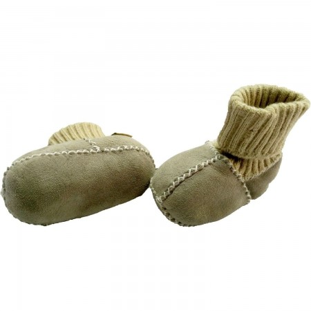 Botosei din piele si blanita de miel cu mansete tricotate - Marime 18 Altabebe MT4032L-01, gri*