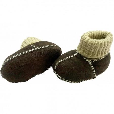 Botosei din piele si blanita de miel cu mansete tricotate - Marime 18 Altabebe MT4032L-01, maro inchis*