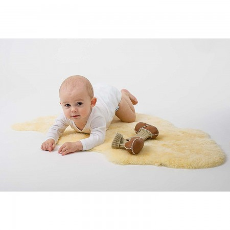 Botosei din piele si blanita de miel cu mansete tricotate - Marime 20 Altabebe MT4033L-01, maro*