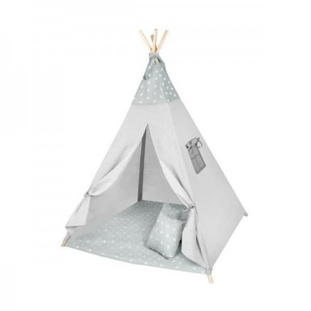 Cort copii XXL Teepee, Cort, Covoras, 3 Perne Iso Trade MY17243, gri stelute*