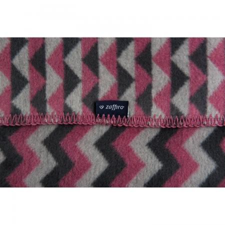 Paturica bebelusi Bumbac Zigzag 75x100 Womar Zaffiro AN-KBZ-01, roz inchis/gri inchis/gri deschis*