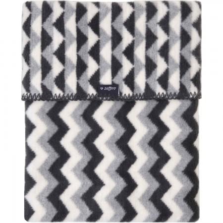 Paturica bebelusi Bumbac Zigzag 75x100 Womar Zaffiro AN-KBZ-01, alb/gri deschis/gri inchis*