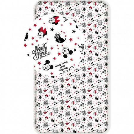 Cearsaf de pat cu elastic Ranforce Minnie and Mickey in New York 90x200 cm SunCity JFK012895*