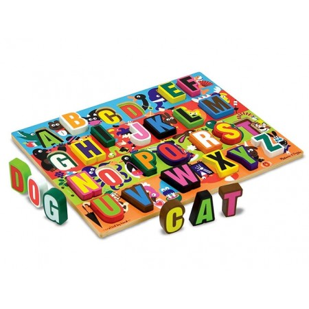 Melissa & Doug - Puzzle lemn in relief Litere
