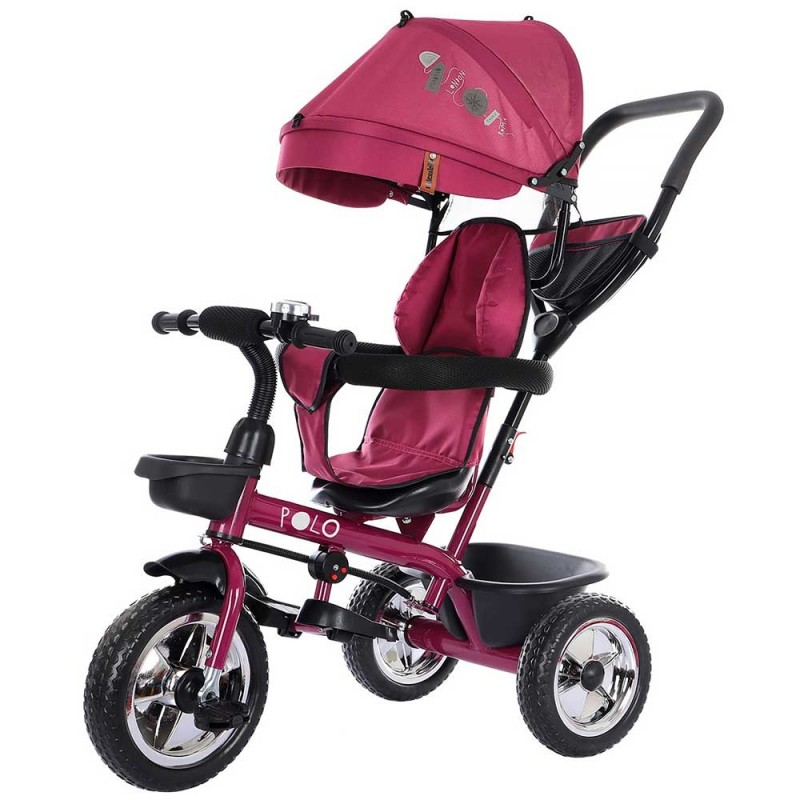 Tricicleta copii sezut rotativ 360, copertina, cos cumparaturi, claxon, Chipolino Polo, roz, mov, orchid