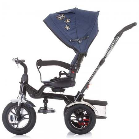 Tricicleta copii cu suport picioare aditional, detasabil, Chipolino Arena albastru inchis