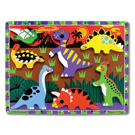 Puzzle lemn in relief Dinozauri Melissa and Doug