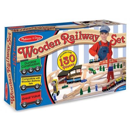 Set Trenulet din lemn cu depou Melissa and Doug