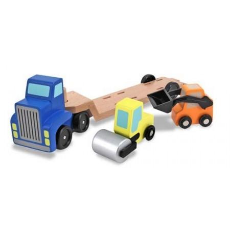 Camion transportor cu platforma cu utilaje de constructii Melissa and Doug