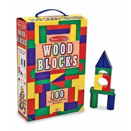 Cuburi din lemn colorate Melissa and Doug 100