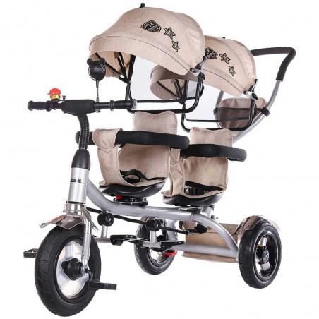 Tricicleta gemeni, 1,5 ani+, greutate maxima 50kg, sezuturi reversibile, Chipolino 2Play Mocca