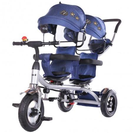 Tricicleta gemeni, 1,5 ani+, greutate maxima 50kg, sezuturi reversibile, Chipolino 2Play Navy