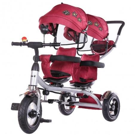Tricicleta gemeni, 1,5 ani+, greutate maxima 50kg, sezuturi reversibile, Chipolino 2Play Orchid