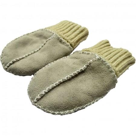 Manusi din piele si blanita de miel cu mansete tricotate Altabebe MT4030L-01, gri*