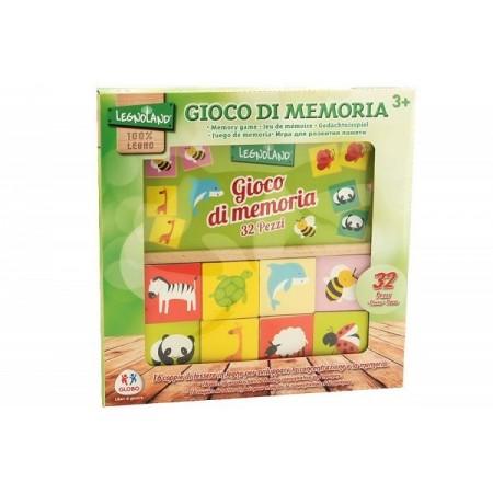 Joc educational din lemn 32 piese Globo Legnoland pentru copii asociere tip memo imagini animale*