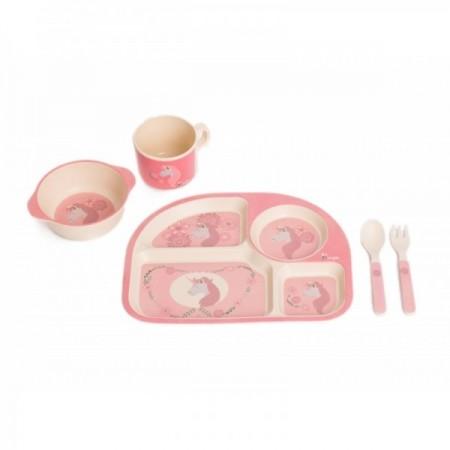 Set cina pentru bebelusi Unicorn Roz, Bo Jungle*
