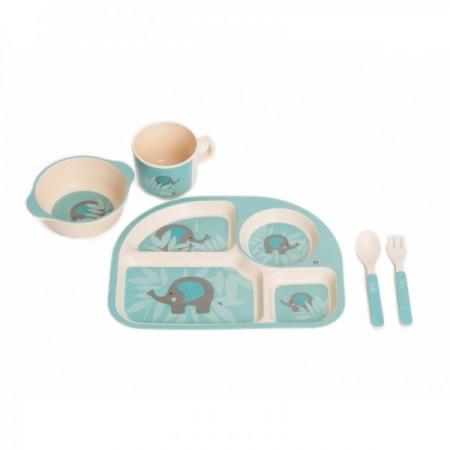 Set cina pentru bebelusi Elefant Albastru, Bo Jungle*