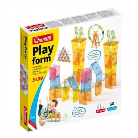 Joc educativ pentru copii Quercetti Playform 0340 joc constructie 60 piese tip panouri transparente si multicolore din plastic*
