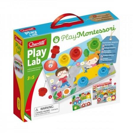 Joc educativ pentru copii Quercetti Play Montessori 0622 Play Lab Planse cu desene suruburi si piulite speciale din plastic*