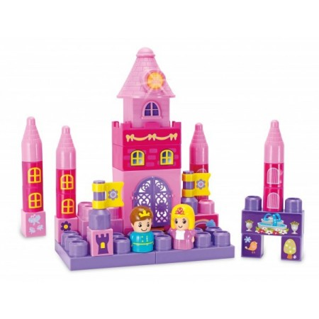 Set constructie piese mari roz Winfun Castel Printese 35 piese si turn cu melodii *