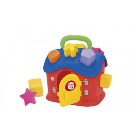 Casuta cu sortator Globo cu 13 piese din plastic multicolor*