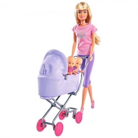 Papusa Simba Steffi Love Sunshine Twins 29 cm violet cu carucior si accesorii*