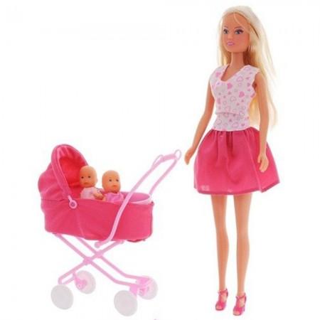 Papusa Simba Steffi Love Sunshine Twins 29 cm roz cu carucior si accesorii*