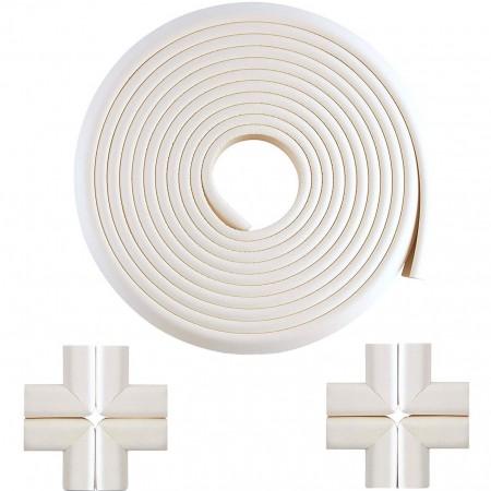 Set Rola protectie multifunctionala XXL de 6m si 8 aparatori moi pentru colturi Bambinice BN008, alb*