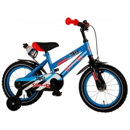 Bicicleta pentru copii Volare Super Children Blue 91431 14 inch cu roti ajutatoare si frana de mana*