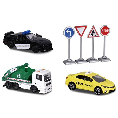 Set Majorette Diorama City cu 3 masinute si 4 indicatoare rutiere*
