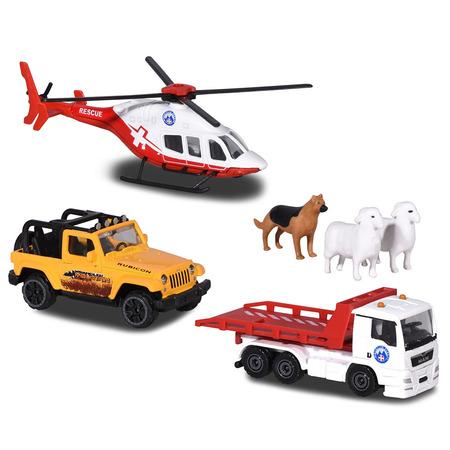 Set Majorette Diorama Mountain Rescue cu 2 masinute, 1 elicopter si 3 figurine*